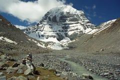 La fonte di fiume Indo al fronte del nord del Monte Kailash sacro fotografia stock libera da diritti