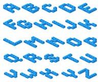 La fonte di vettore isometrica 3D del blu di plastica cuba il costruttore Fotografie Stock Libere da Diritti