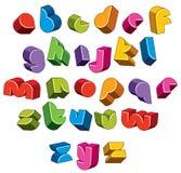 la fonte futuristica 3d, vector le lettere luminose e variopinte Fotografie Stock