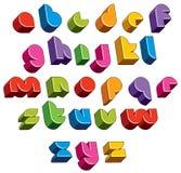 la fonte futuristica 3d, vector le lettere luminose e variopinte Fotografie Stock Libere da Diritti