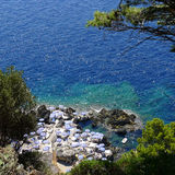 La Fontelina, Capri, Italia del club de la playa Fotos de archivo libres de regalías