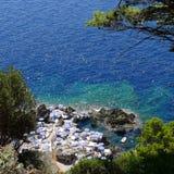 La Fontelina, Capri, Italia del club della spiaggia Fotografie Stock Libere da Diritti