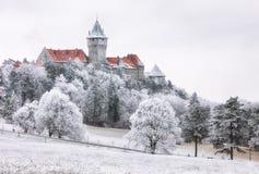 La forêt d'hiver opacifie le paysage avec le château de Smolenice, Slovaquie Images stock