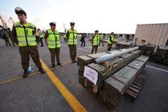 La force navale israélienne arrête le bateau iranien d'arme image libre de droits