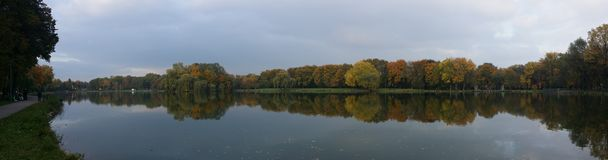 La foresta ed il lago abbelliscono con la riflessione di specchio in acqua Fotografia Stock
