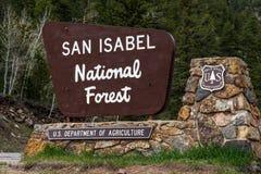 La foresta nazionale di San isabel firma dentro colorado Immagini Stock Libere da Diritti