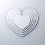 La forma bianca del cuore mette a strati sul fondo bianco della parete con ombra, rappresentazione del fondo 3D del giorno di big Immagini Stock