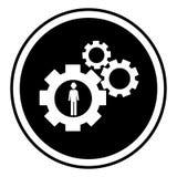 La forma circolare con l'icona della ruota di ingranaggio della siluetta e l'uomo calcolano Fotografia Stock