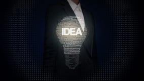 La forma conmovedora de la empresaria de la luz de bulbo y de los textos numerosos hace la luz de bulbo, mostrando el texto 'IDEA metrajes