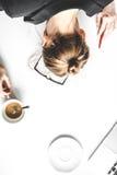 La forma de vida cansó mofa de la opinión superior de la mujer de negocios para arriba Fotografía de archivo