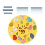 La forma del círculo con Pascua adornó los huevos y el marco de texto ilustración del vector