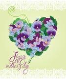 La forma del cuore è fatta di bei fiori Fotografia Stock
