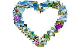 La forma del cuore fatta delle foto della natura Fotografia Stock