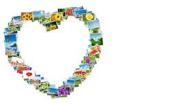 La forma del cuore fatta delle foto della natura Fotografie Stock Libere da Diritti