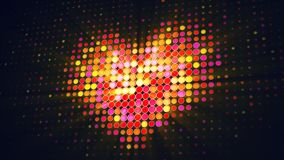 La forma del cuore del LED punteggia sull'illustrazione digitale del monitor 3D Fotografia Stock