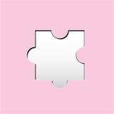 La forma del puzzle con carta ha tagliato lo stile su colore solido Fotografia Stock Libera da Diritti