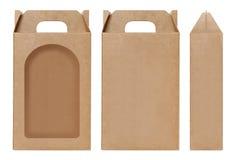 La forma della finestra della scatola di Brown ha tagliato il modello d'imballaggio, il cartone vuoto della scatola, cartone d'im Immagini Stock Libere da Diritti