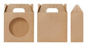 La forma della finestra della scatola di Brown ha tagliato il modello d'imballaggio, il cartone vuoto della scatola, cartone d'im Immagini Stock