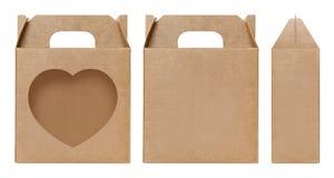 La forma della finestra della scatola di Brown ha tagliato il modello d'imballaggio, il cartone vuoto della scatola, cartone d'im Fotografia Stock Libera da Diritti