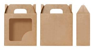 La forma della finestra della scatola di Brown ha tagliato il modello d'imballaggio, il cartone vuoto della scatola, cartone d'im Immagine Stock
