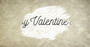 La forma feliz de la palabra del día de San Valentín en viejo fondo del papel del vintage del grunge con los corazones rojos form stock de ilustración
