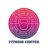La forma fisica concentra intorno al logo, distintivo illustrazione vettoriale