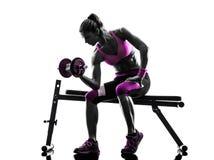 La forma fisica della donna esercita la siluetta del body building dei pesi fotografia stock