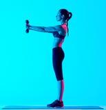 La forma fisica della donna pesa i exercices Immagine Stock