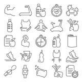 La forma fisica e l'addestramento allineano le icone per il web e la progettazione mobile Immagine Stock Libera da Diritti