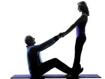 La forma fisica senior delle coppie esercita la siluetta Immagini Stock Libere da Diritti