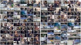 La forma fisica, sport, parkour, pattino multiscreen il montaggio archivi video