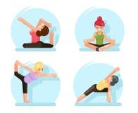 La forma fisica sveglia delle ragazze di yoga posa l'illustrazione piana di vettore di progettazione Immagini Stock Libere da Diritti
