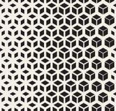 La forma geométrica blanco y negro inconsútil del cubo del vector alinea el modelo de rejilla de semitono Imagen de archivo