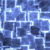 La forma leggera astratta quadrata blu cuba il fondo illustrazione di stock