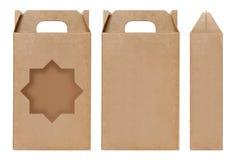 La forma marrón de la estrella de la ventana de la caja cortó la plantilla de empaquetado, fondo blanco aislado cartulina vacía d foto de archivo libre de regalías