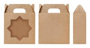 La forma marrone della stella della finestra della scatola ha tagliato il modello d'imballaggio, fondo bianco isolato cartone vuo Fotografie Stock