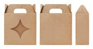La forma marrone della stella della finestra della scatola ha tagliato il modello d'imballaggio, fondo bianco isolato cartone vuo Immagini Stock Libere da Diritti