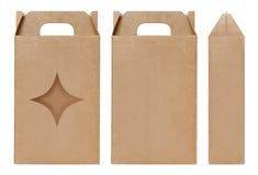 La forma marrone della stella della finestra della scatola ha tagliato il modello d'imballaggio, fondo bianco isolato cartone vuo Immagine Stock Libera da Diritti