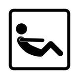 la forma quadrata con l'ABS di esercizio dell'uomo del pittogramma ha raccolto le gambe Immagini Stock Libere da Diritti
