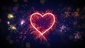 La forma y los fuegos artificiales del corazón de la bengala colocan la animación 4k (4096x2304) stock de ilustración
