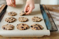 La formación de galletas deliciosas, en un molde para el horno Foto de archivo