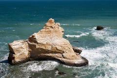 La formation de roche célèbre de cathédrale de Paracas Image libre de droits