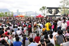 ?La formazione nazionale? mescola le proteste a Hong Kong Fotografia Stock Libera da Diritti