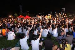 ?La formazione nazionale? mescola le proteste a Hong Kong Immagini Stock Libere da Diritti