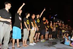 ?La formazione nazionale? mescola le proteste a Hong Kong Immagini Stock