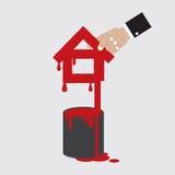 La forme à la maison avec la couleur Painted peut Photographie stock libre de droits