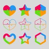 La forme colorée de puzzle - coeur, étoile, hexagone illustration de vecteur