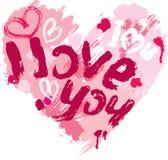 La forme de coeur est faite de courses et griffonnages de brosse Images stock