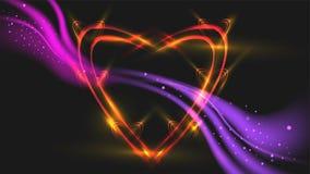 La forme de coeur a fait par effet de la lumière avec le résumé onduleux pourpre sur le fond noir illustration de vecteur