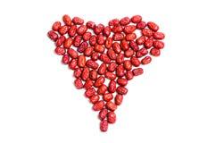 La forme de coeur faite de jujube, Chinois a séché les dates rouges Image libre de droits